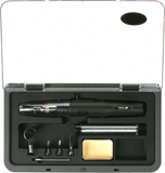 Straight gas soldering iron with accessories